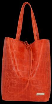 Vittoria Gotti Kožená Italská Kabelka Shopperbag motiv želvy XL Oranžová