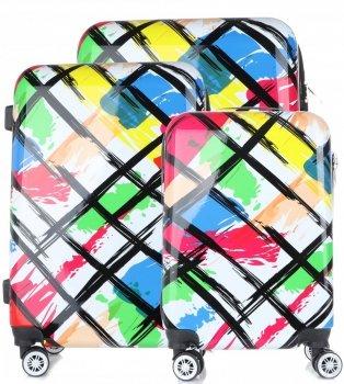 Kufry renomované firmy Snowball Sada 3v1 Multicolor - Bílé