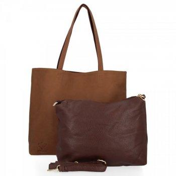 BEE BAG Dámské Kabelky 2 v 1 Shopper a Listonoška Grace Hnědá/Čokoládová