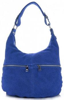 Univerzální kožená italská kabelka na každý den Modrá