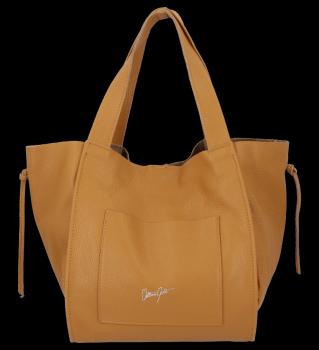 Vittoria Gotti Italské Kožené Dámské Kabelky Shopper Bag Zrzavá