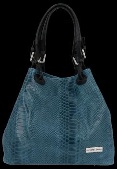 Univerzální kožená italská kabelka Vittoria Gotti Mořská