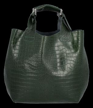 Kožená Kabelka Vittoria Gotti Exkluzivní Shopper s motivem aligátora Lahvově Zelená