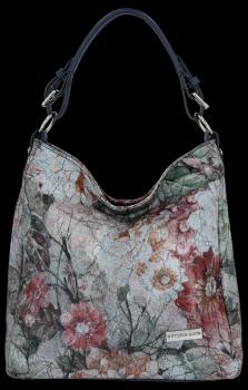 VITTORIA GOTTI Made in Italy Kožená kabelka vzor v květech Multicolor Tmavě modrá