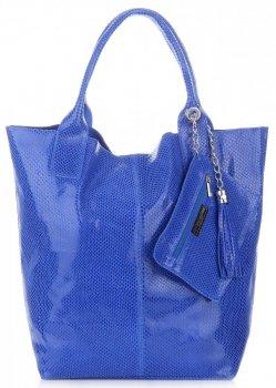 Kožené kabelky Shopper bag Lakované modrá
