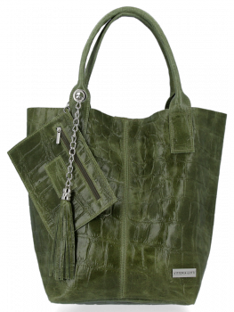 Univerzální Kožené Kabelky Shopper Bag XL se zvířecím motivem Vittoria Gotti Zelená