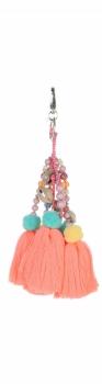 Přívěšek ke kabelce Fluorescenční pompony s korálky a mušličkami meruňka