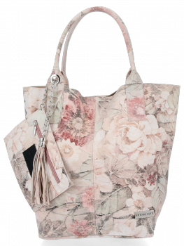 Módní Kožené Dámské Kabelky Shopper Bag s květinovým vzorem Vittoria Gotti Práškově Růžová