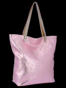 Módní Kožené Dámské Kabelky Shopper Bag Vittoria Gotti Růžová