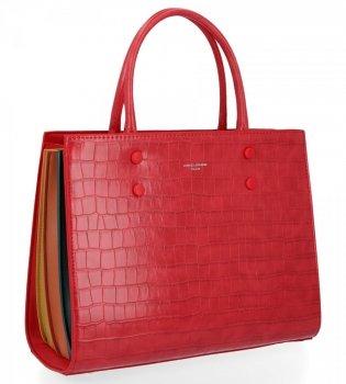 Elegantní Dámská Kabelka Kufřík s motivem želvy značky David Jones Červená