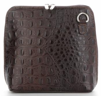 Kožená Kabelka Listonoška Genuine Leather motiv aligátorů Čokoládová