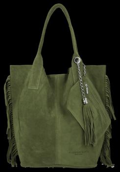 Módní Italské Kožené Kabelky Shopper Bag Boho Style Vittoria Gotti Zelená
