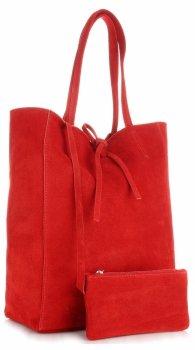 Kožené kabelky ShopperBag červená