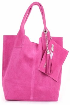 Kožené kabelky Shopperbag přírodní semiš fuscia