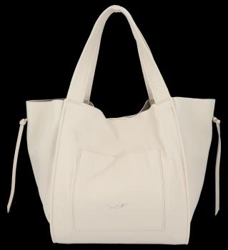 Vittoria Gotti Italské Kožené Dámské Kabelky Shopper Bag Béžová