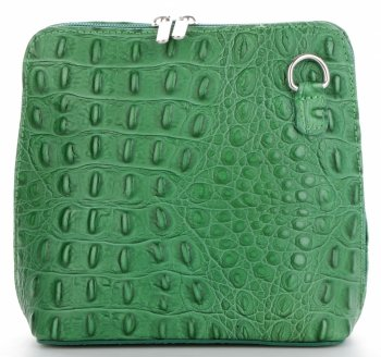 Kožená Kabelka Listonoška Genuine Leather motiv aligátorů Dračí Zelená
