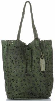 Vittoria Gotti Ažurová Kožená Kabelka ShopperBag Vintage Lahvově zelená