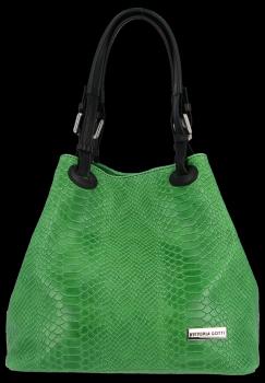 Univerzální kožená italská kabelka Vittoria Gotti Dračí zelená