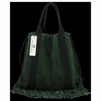 Vittoria Gotti Italské Kožené Dámské Kabelky Shopper Bag Boho Style Lahvově Zelená