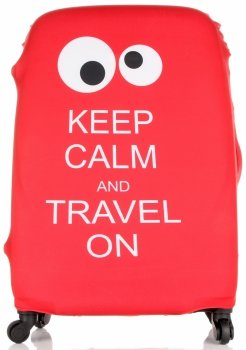 Obal na kufr Snowball L size Keep Calm and travel on Červený