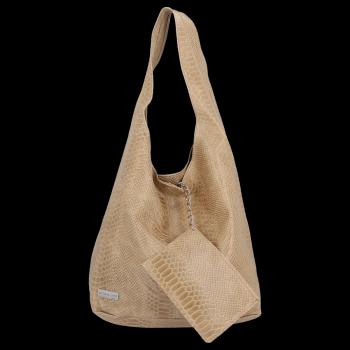 Velká dámská kožená kabelka Shopper Aligátor Vittoria Gotti Béžová