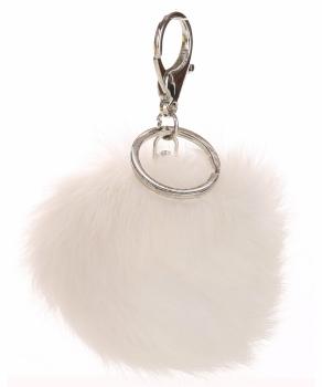 Přívěšek ke kabelce Pompon z přírodního vlasu bílý