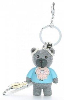 Přívěšek ke kabelce Hipster medvídek z kaučuku šedý
