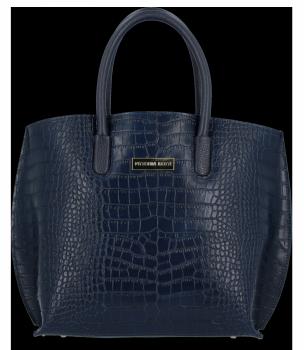 Elegantní Kožená Kabelka Kufřík s motivem aligátora Vittoria Gotti Tmavě modrá