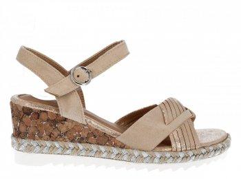 Béžové módní dámské klínové sandály Lady Glory