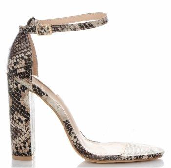 Modní Dámské Sandály na podpatku Bellucci Béžové