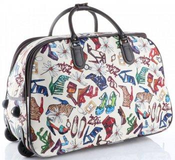 Torba Podróżna na kółkach ze stelażem Shoes Bags&More Or&Mi Multikolor Biała