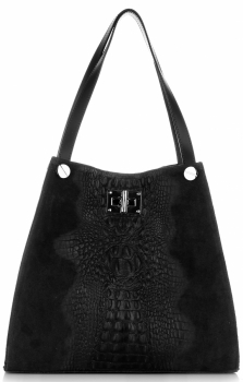 Torebka Skórzana ShopperBag XL z Kosmetyczką wzór Aligatora Czarna