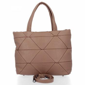 Modna Torebka Damska Herisson Shopper Bag Ciemno Beżowa