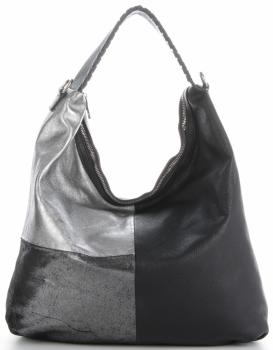 Włoska Uniwersalna Torba Skórzana w rozmiarze XL w modne wzory Czarna