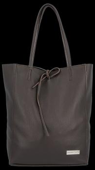 Uniwersalna Torebka Skórzana Firmowy Shopper Vittoria Gotti w rozmiarze XL Czekolada