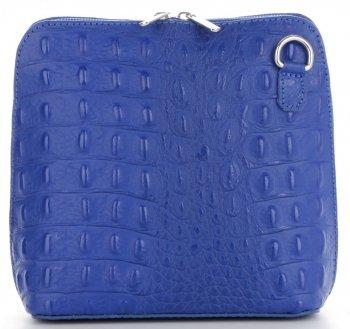 Włoska Torebka Skórzana Listonoszka firmy Genuine Leather we wzór Krokodyla Kobaltowa