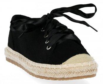 Czarne tenisówki damskie espadryle firmy Bellucci