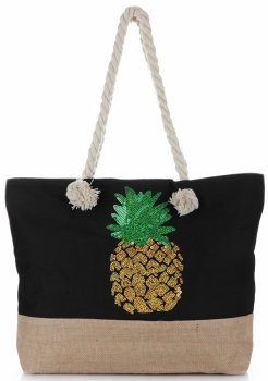 Modna Plażowa Torba Damska Ananas Czarna