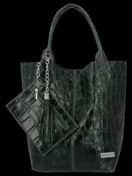 Uniwersalna Torebka Skórzana XL Shopper Bag w motyw zwierzęcy firmy Vittoria Gotti Butelkowa Zieleń