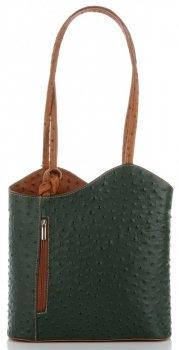 Włoska Torebka Skórzana firmy Genuine Leather Butelkowa Zieleń z rudym