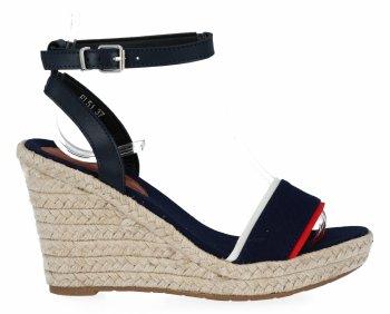 Granatowe sandały damskie na koturnie firmy Lady Glory