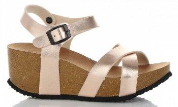 Stylowe Buty Damskie Koturny firmy Ideal Shoes Szampan