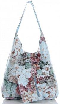 Torebka Skórzana firmy Vittoria Gotti Uniwersalny Włoski Shopper w modne wzory Kwiatów Błękitna