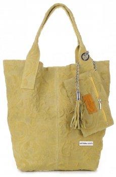 VITTORIA GOTTI Made in Italy Torebka Skórzana Shopperbag w Tłoczone Wzory Pistacja