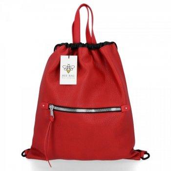 BEE BAG Torebka Damska Worek typu Shopper Bag Beatrice Czerwona