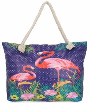 Ażurowana Torba Damska idealna na lato wzór Flaminga Fioletowa