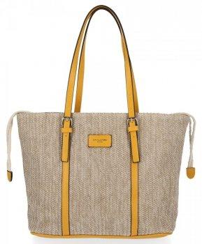 Ratanowe Torebki Damskie Shopper Bag firmy David Jones Żółta