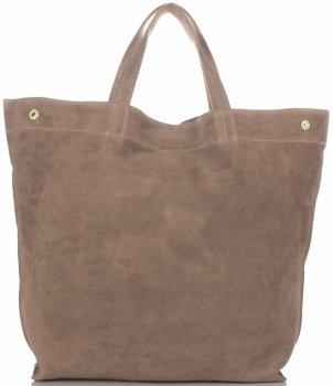 Włoski Skórzany Shopper XL firmy Vera Pelle Ziemisty