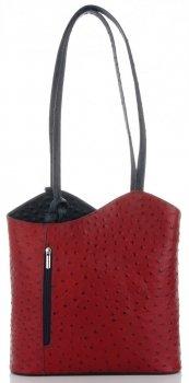 Włoska Torebka Skórzana firmy Genuine Leather Czerwona z granatowym
