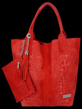 Włoskie Torebki Skórzane Shopper Bag w motyw aligatora firmy Vittoria Gotti Czerwona